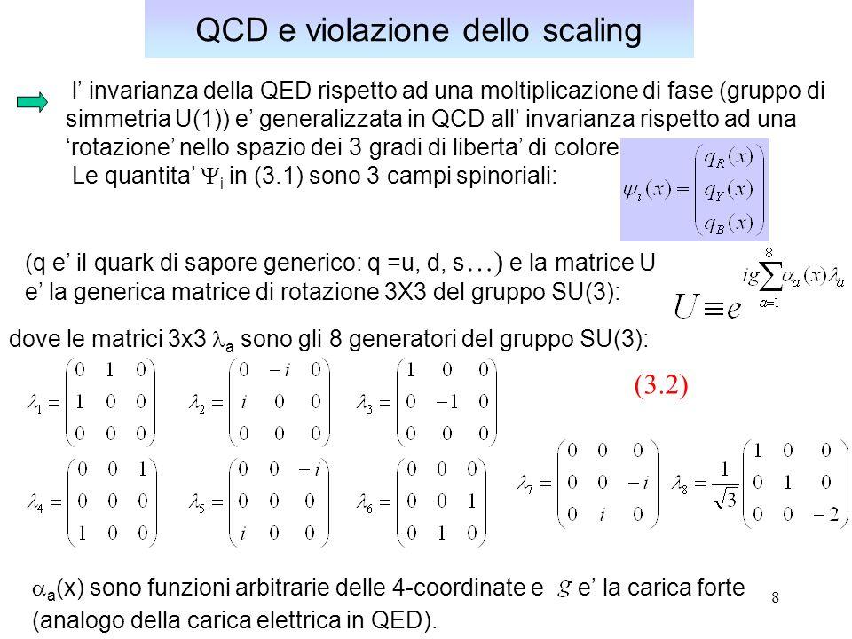 9 QCD e violazione dello scaling Al posto del fotone, associato all unico generatore del gruppo U(1), esistono 8 campi mediatori gluonici G a (x) associati agli 8 generatori del gruppo SU(3) e le costanti f abc che compaiono nella trasformazione di gauge dei campi [seconda eq.