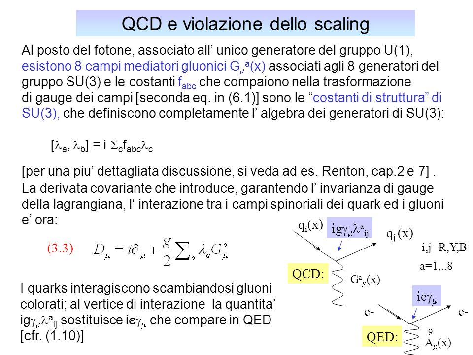 10 QCD e violazione dello scaling Una fondamentale differenza tra la teoria abeliana di QED e le teorie di gauge non abeliane (QCD per linterazione forte, QEWD (vedi dopo) per l interazione elettro-debole) e l esistenza in queste ultime di auto-interazione tra i mediatori, con vertici, ad esempio, a 3 gluoni: G a (x) igf abc [ g (p 1 -p 2 ) + g (p 2 -p 3 ) +g (p 3 -p 1 ) ] G b (x) G c (x) e a 4 gluoni [ per maggiori dettagli, vedi Renton, app.C] G a (x) G b (x) G d (x) G c (x)