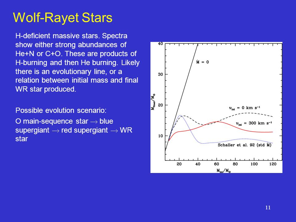 11 Wolf-Rayet Stars H-deficient massive stars. Spectra show either strong abundances of He+N or C+O. These are products of H-burning and then He burni