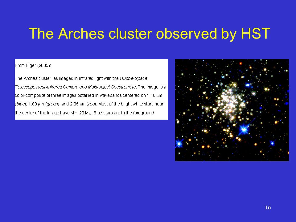 16 The Arches cluster observed by HST