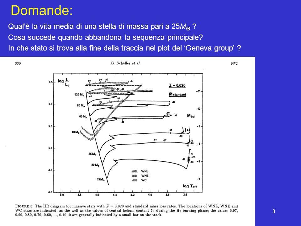 3 Domande: Qualè la vita media di una stella di massa pari a 25M ? Cosa succede quando abbandona la sequenza principale? In che stato si trova alla fi