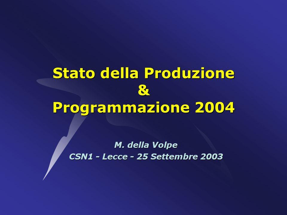 Stato della Produzione & Programmazione 2004 M. della Volpe CSN1 - Lecce - 25 Settembre 2003