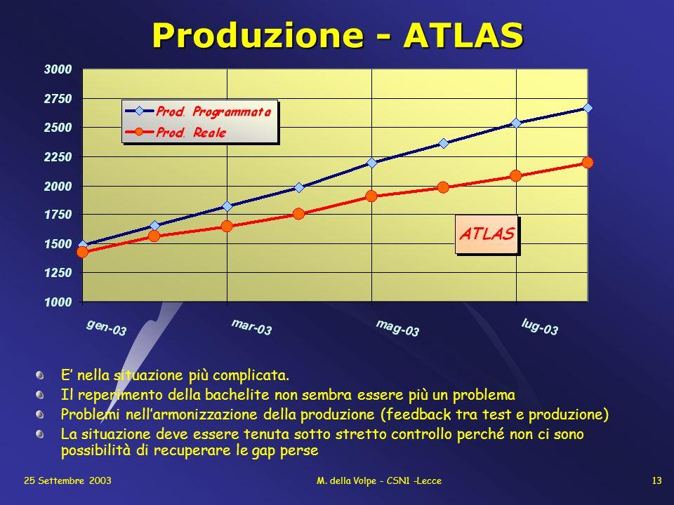 25 Settembre 2003M. della Volpe - CSN1 -Lecce13 Produzione - ATLAS E nella situazione più complicata. Il reperimento della bachelite non sembra essere
