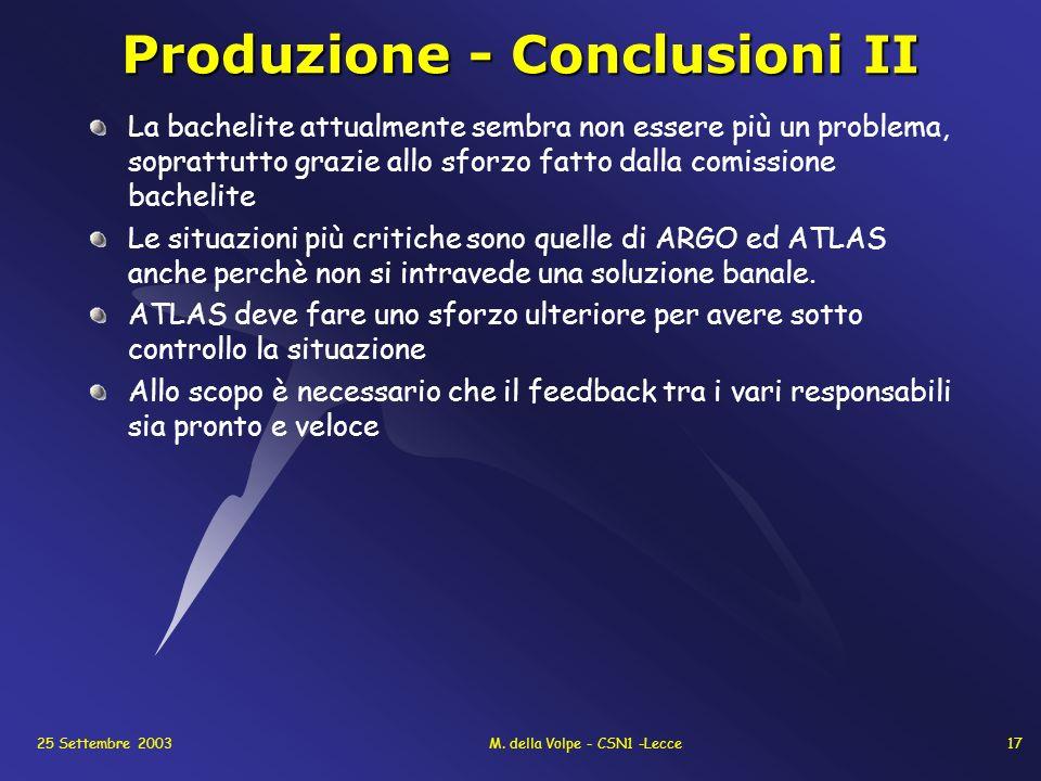 25 Settembre 2003M. della Volpe - CSN1 -Lecce17 Produzione - Conclusioni II La bachelite attualmente sembra non essere più un problema, soprattutto gr