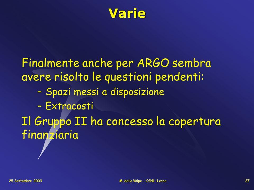 25 Settembre 2003M. della Volpe - CSN1 -Lecce27Varie Finalmente anche per ARGO sembra avere risolto le questioni pendenti: –Spazi messi a disposizione