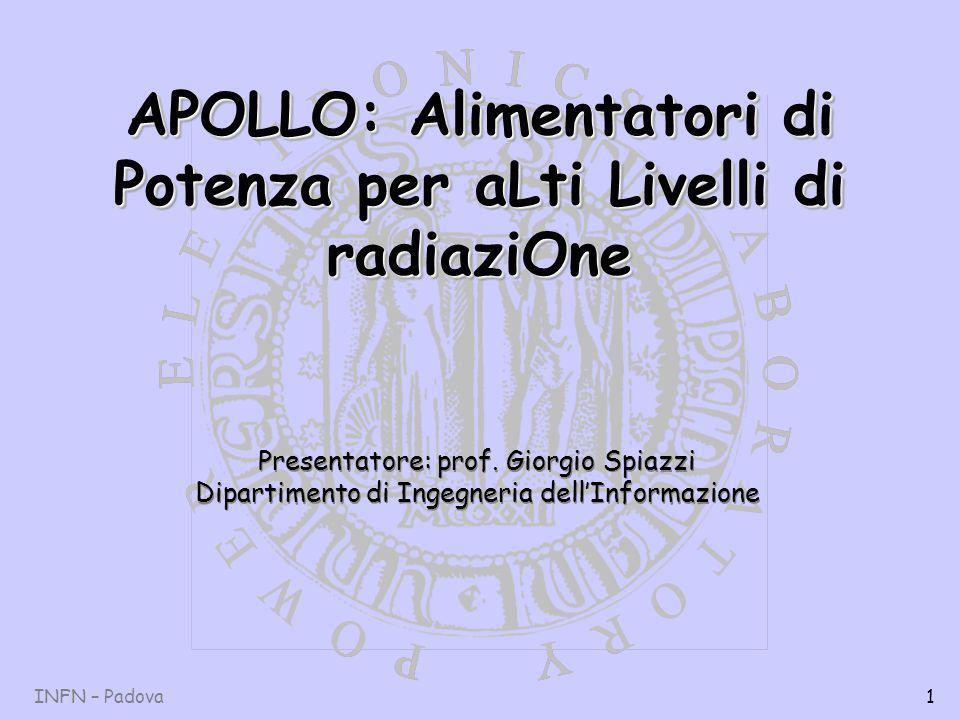 INFN – Padova1 APOLLO: Alimentatori di Potenza per aLti Livelli di radiaziOne Presentatore: prof.