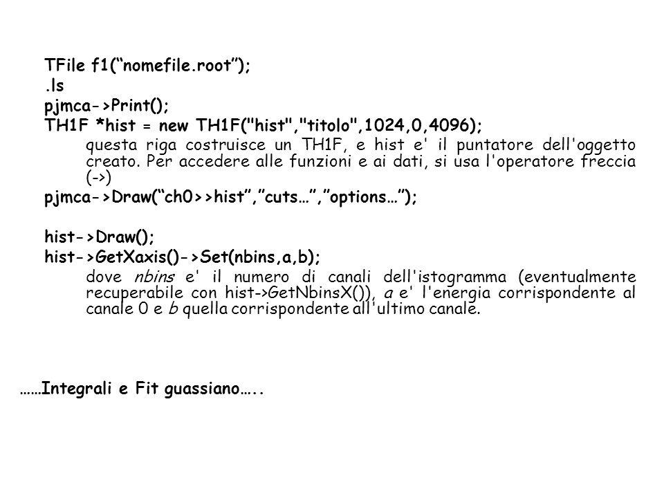 TFile f1(nomefile.root);.ls pjmca->Print(); TH1F *hist = new TH1F( hist , titolo ,1024,0,4096); questa riga costruisce un TH1F, e hist e il puntatore dell oggetto creato.
