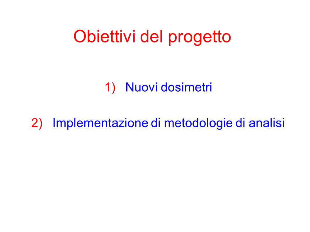 Obiettivi del progetto 1)Nuovi dosimetri 2)Implementazione di metodologie di analisi
