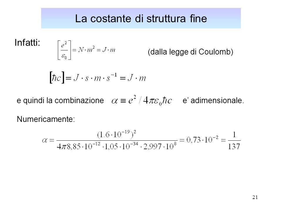 21 La costante di struttura fine Infatti: (dalla legge di Coulomb) e quindi la combinazione e adimensionale.