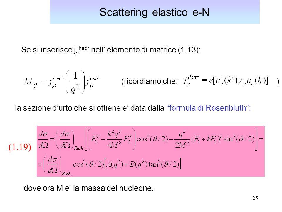 25 Scattering elastico e-N (1.19) dove ora M e la massa del nucleone.