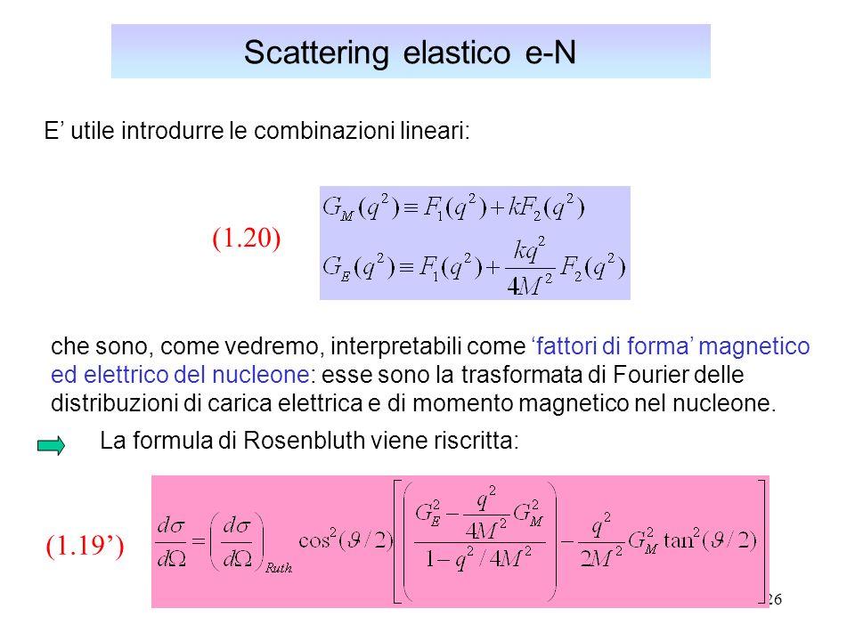 26 Scattering elastico e-N La formula di Rosenbluth viene riscritta: (1.19) che sono, come vedremo, interpretabili come fattori di forma magnetico ed elettrico del nucleone: esse sono la trasformata di Fourier delle distribuzioni di carica elettrica e di momento magnetico nel nucleone.