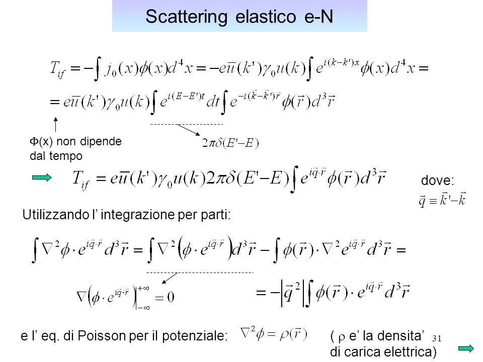 31 Scattering elastico e-N (x) non dipende dal tempo Utilizzando l integrazione per parti: e l eq.
