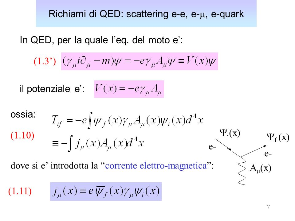 18 Sezione d urto per lo scattering di QED e-q E importante sottolineare che per un fissato valore dell energia incidente E, la sezione d urto e solo funzione dell angolo di scattering, essendo [vedi es.1.4]: Infine, e utile esprimere la sezione durto elementare di Mott in forma Lorentz-invariante, utilizzando le variabili di Mandelstam: k p p k k k p e quark Dalla forma Lorentz-invariante (1.15) dell ampiezza di transizione (trascurando la massa del quark):