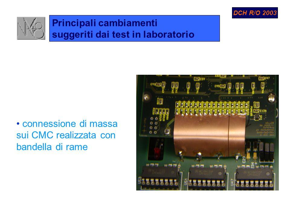 Principali cambiamenti suggeriti dai test in laboratorio connessione di massa sui CMC realizzata con bandella di rame DCH R/O 2003