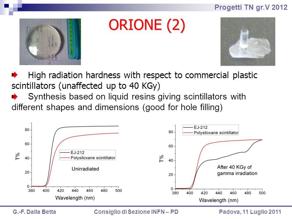 Progetti TN gr.V 2012 G.-F. Dalla Betta Consiglio di Sezione INFN – PD Padova, 11 Luglio 2011 High radiation hardness with respect to commercial plast