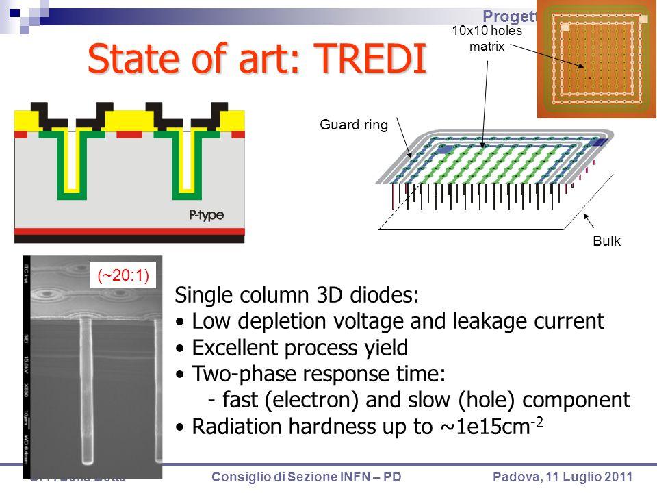 Progetti TN gr.V 2012 G.-F. Dalla Betta Consiglio di Sezione INFN – PD Padova, 11 Luglio 2011 Bulk Guard ring 10x10 holes matrix Single column 3D diod