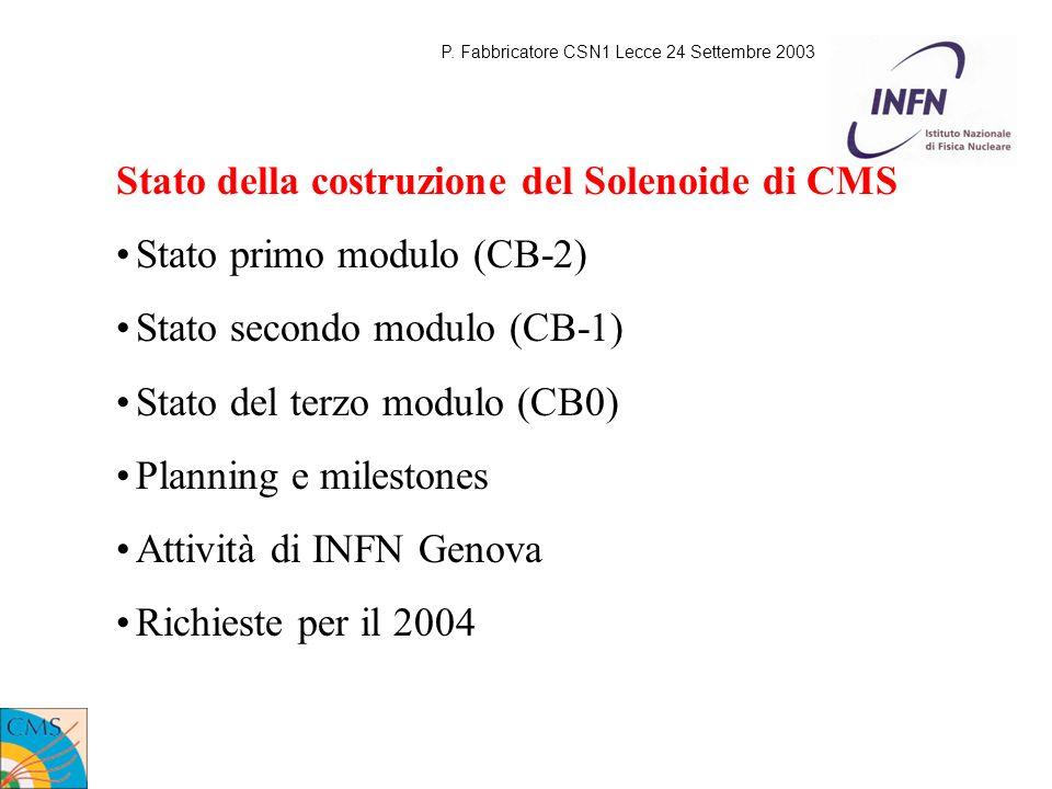 Stato della costruzione del Solenoide di CMS Stato primo modulo (CB-2) Stato secondo modulo (CB-1) Stato del terzo modulo (CB0) Planning e milestones