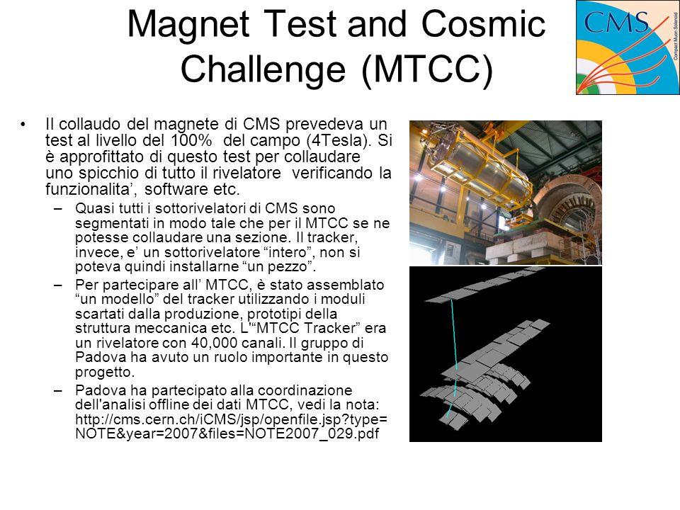 Magnet Test and Cosmic Challenge (MTCC) Il collaudo del magnete di CMS prevedeva un test al livello del 100% del campo (4Tesla).