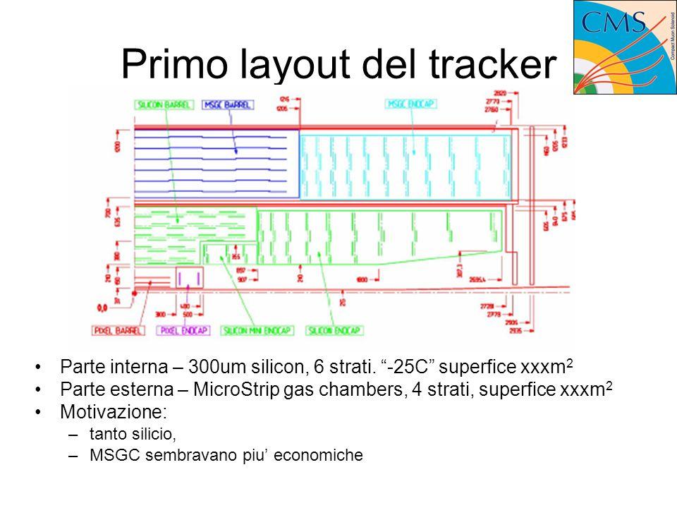 Primo layout del tracker Parte interna – 300um silicon, 6 strati.