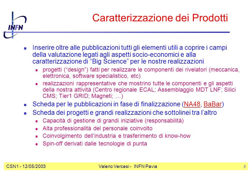 CSN1 - 12/05/2003Valerio Vercesi - INFN Pavia3 Caratterizzazione dei Prodotti Inserire oltre alle pubblicazioni tutti gli elementi utili a coprire i campi della valutazione legati agli aspetti socio-economici e alla caratterizzazione di Big Science per le nostre realizzazioni progetti (design) fatti per realizzare le componenti dei rivelatori (meccanica, elettronica, software specialistico, etc) realizzazioni rappresentative che mostrino tutte le componenti e gli aspetti della nostra attività (Centro regionale ECAL; Assemblaggio MDT LNF; Silici CMS; Tier1 GRID; Magneti; …) Scheda per le pubblicazioni in fase di finalizzazione (NA48, BaBar)NA48BaBar Scheda dei progetti e grandi realizzazioni che sottolinei tra laltro Capacità di gestione di grandi iniziative (responsabilità) Alta professionalità del personale coinvolto Coinvolgimento dellindustria e trasferimento di know-how Spin-off derivati dalle tecnologie di punta