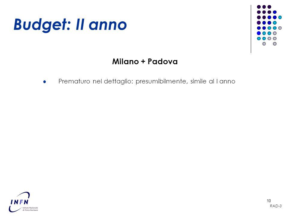 RAD-3 10 Budget: II anno Prematuro nel dettaglio: presumibilmente, simile al I anno Milano + Padova