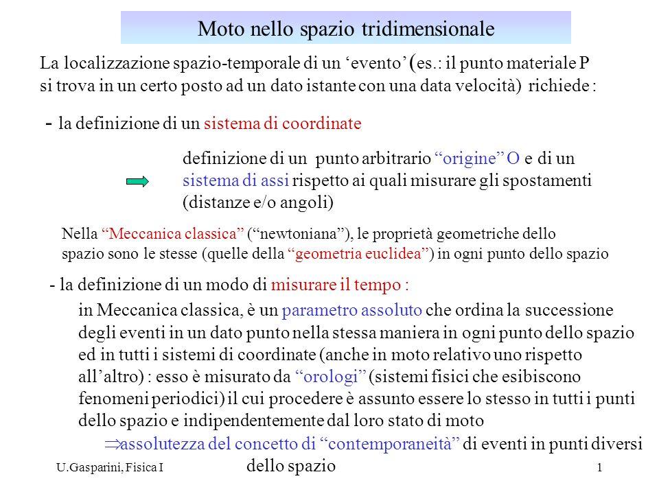 U.Gasparini, Fisica I1 La localizzazione spazio-temporale di un evento ( es.: il punto materiale P si trova in un certo posto ad un dato istante con u