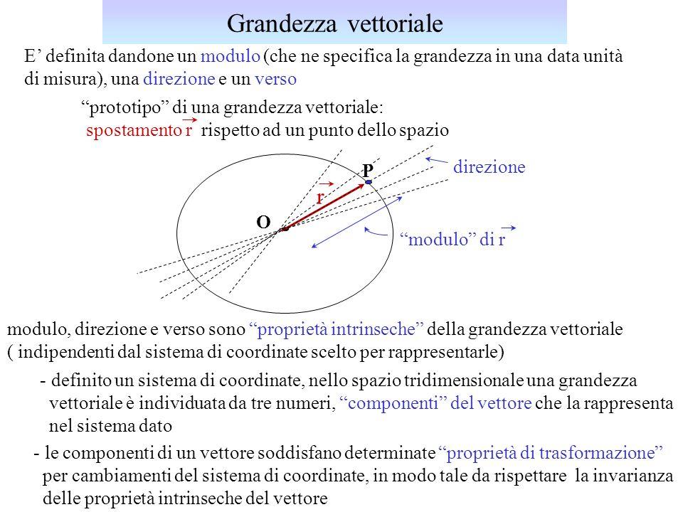 E definita dandone un modulo (che ne specifica la grandezza in una data unità di misura), una direzione e un verso prototipo di una grandezza vettoria