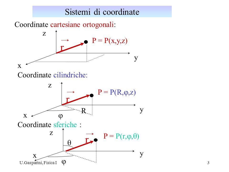 U.Gasparini, Fisica I3 Coordinate cartesiane ortogonali: x y z P = P(x,y,z) r Coordinate cilindriche: x y z P = P(R,,z) r x y z P = P(r, ) r R Coordin