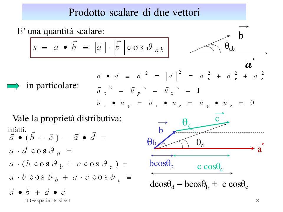 U.Gasparini, Fisica I9 Dalle proprietà precedenti, è facile ricavare l espressione del prodotto scalare in funzione delle coordinate cartesiane dei vettori : = 0 = 1 Prodotto scalare in coordinate cartesiane