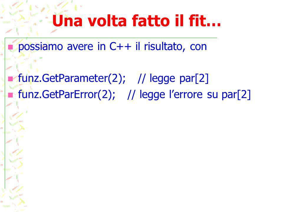 Una volta fatto il fit… possiamo avere in C++ il risultato, con funz.GetParameter(2); // legge par[2] funz.GetParError(2); // legge lerrore su par[2]