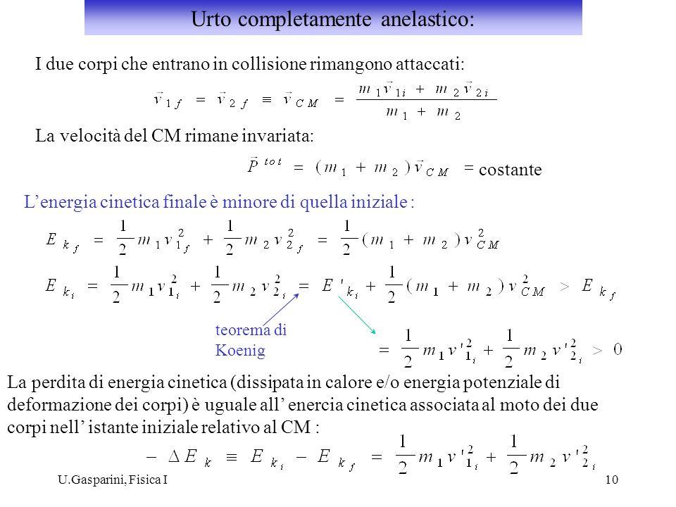 U.Gasparini, Fisica I10 I due corpi che entrano in collisione rimangono attaccati: La velocità del CM rimane invariata: costante Lenergia cinetica finale è minore di quella iniziale : teorema di Koenig La perdita di energia cinetica (dissipata in calore e/o energia potenziale di deformazione dei corpi) è uguale all enercia cinetica associata al moto dei due corpi nell istante iniziale relativo al CM : Urto completamente anelastico: