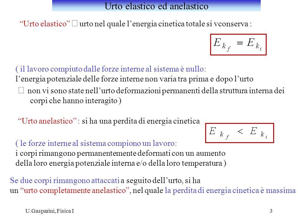 U.Gasparini, Fisica I Esempio: urto tra due punti materiali e analogamente: Urto elastico unidimensionale