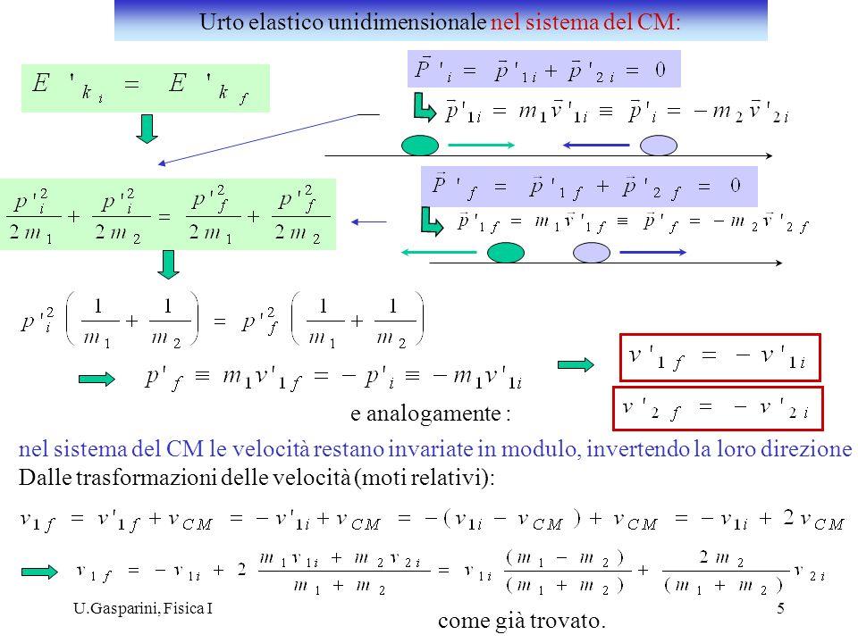 In un urto elastico unidimensionale: i) scambio delle velocità: ii) il corpo 1 (di massa maggiore) mantiene pressochè invariata la sua velocità, il corpo 2 rimbalza indietro iii)e (es.: urto contro un ostacolo fisso: il corpo 1 rimbalza indietro; il corpo 2 rimane pressochè fermo ) Urto elastico unidimensionale : esempi Alcuni casi particolari :