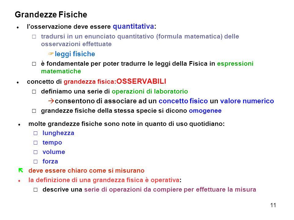 11 Grandezze Fisiche l'osservazione deve essere quantitativa: tradursi in un enunciato quantitativo (formula matematica) delle osservazioni effettuate