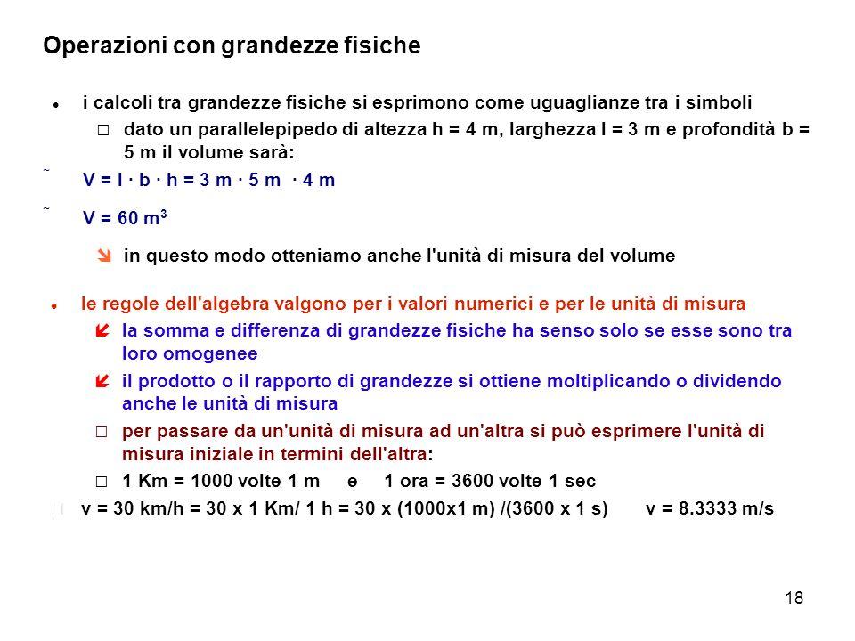 18 Operazioni con grandezze fisiche i calcoli tra grandezze fisiche si esprimono come uguaglianze tra i simboli dato un parallelepipedo di altezza h =