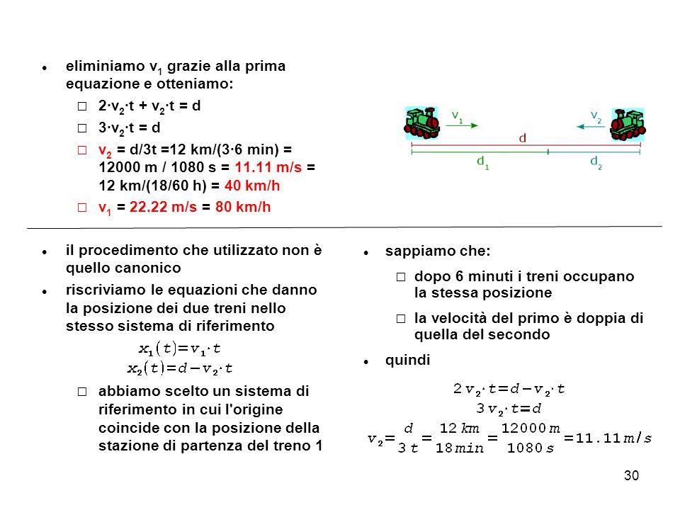 30 eliminiamo v 1 grazie alla prima equazione e otteniamo: 2·v 2 ·t + v 2 ·t = d 3·v 2 ·t = d v 2 = d/3t =12 km/(3·6 min) = 12000 m / 1080 s = 11.11 m