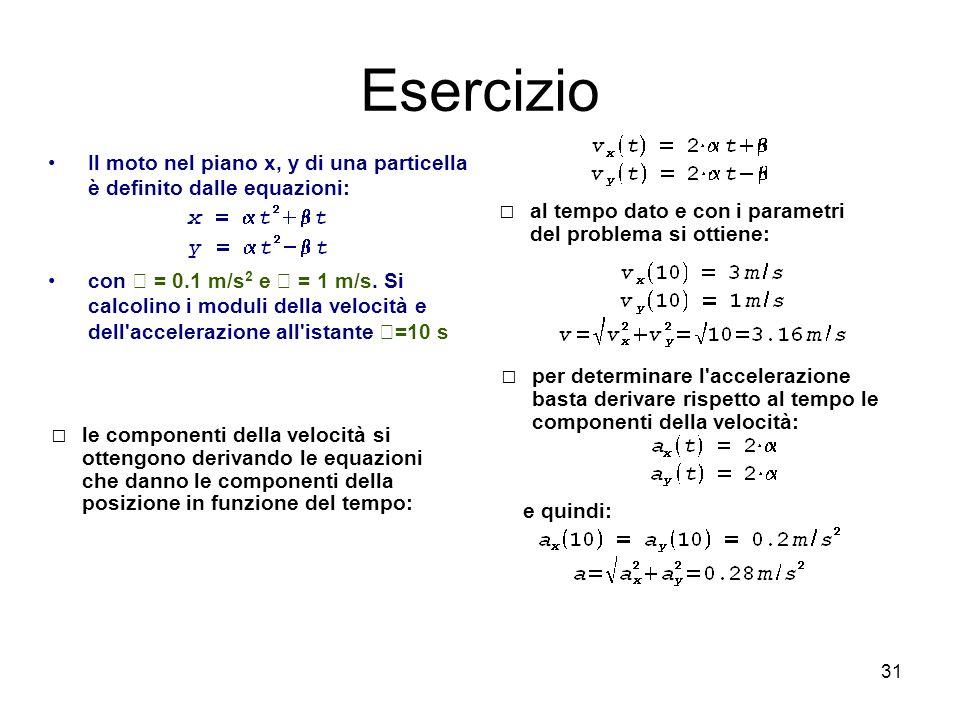 31 Esercizio Il moto nel piano x, y di una particella è definito dalle equazioni: con = 0.1 m/s 2 e = 1 m/s. Si calcolino i moduli della velocità e de