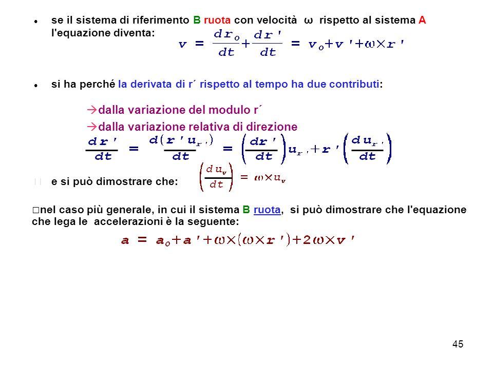 45 se il sistema di riferimento B ruota con velocità ω rispetto al sistema A l'equazione diventa: si ha perché la derivata di r´ rispetto al tempo ha