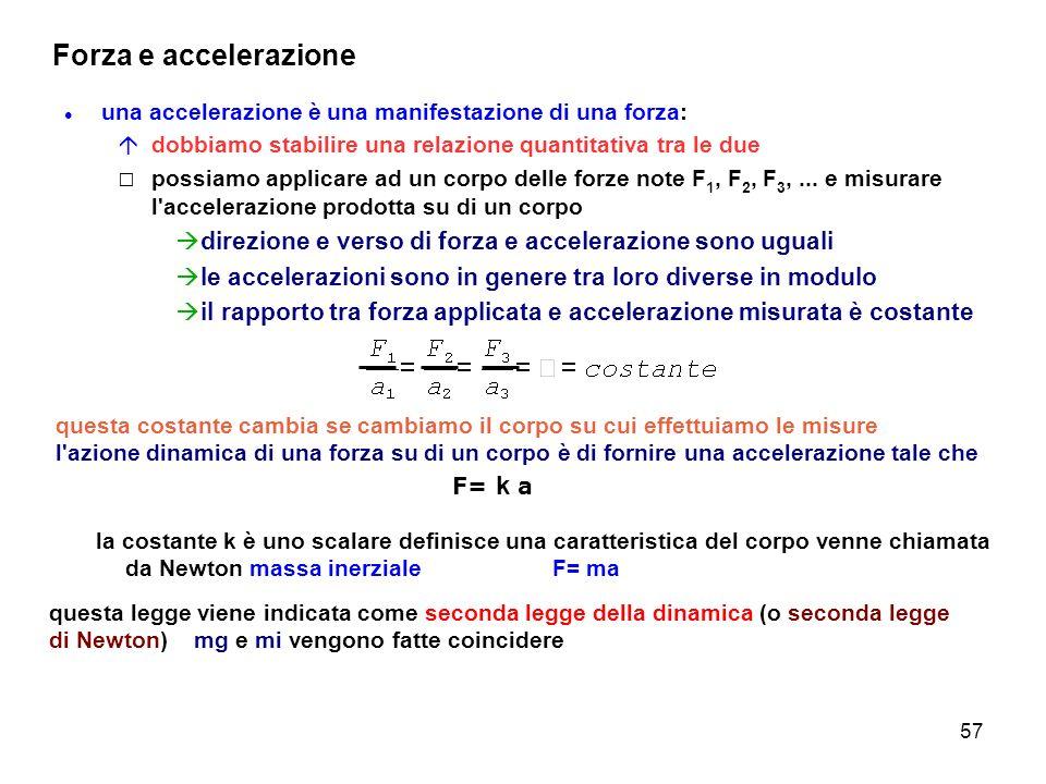 57 Forza e accelerazione una accelerazione è una manifestazione di una forza: dobbiamo stabilire una relazione quantitativa tra le due possiamo applic