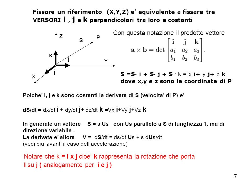 7 Fissare un riferimento (X,Y,Z) e equivalente a fissare tre VERSORI i, j e k perpendicolari tra loro e costanti X Y Z i j K S S =S i + S j + S k = x