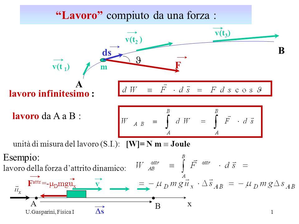 U.Gasparini, Fisica I1 v(t 1 ) v(t 2 ) v(t 3 ) F ds lavoro infinitesimo : m A B lavoro da A a B : unità di misura del lavoro (S.I.): [W]= N m Joule Es