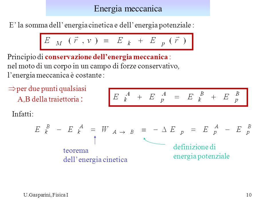 U.Gasparini, Fisica I10 Principio di conservazione dellenergia meccanica : nel moto di un corpo in un campo di forze conservativo, lenergia meccanica