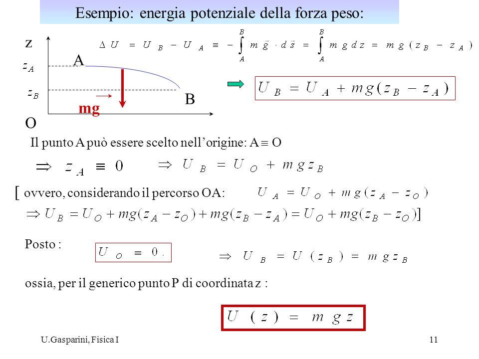 U.Gasparini, Fisica I11 z A B mg O Il punto A può essere scelto nellorigine: A O Posto : ossia, per il generico punto P di coordinata z : [ ovvero, co