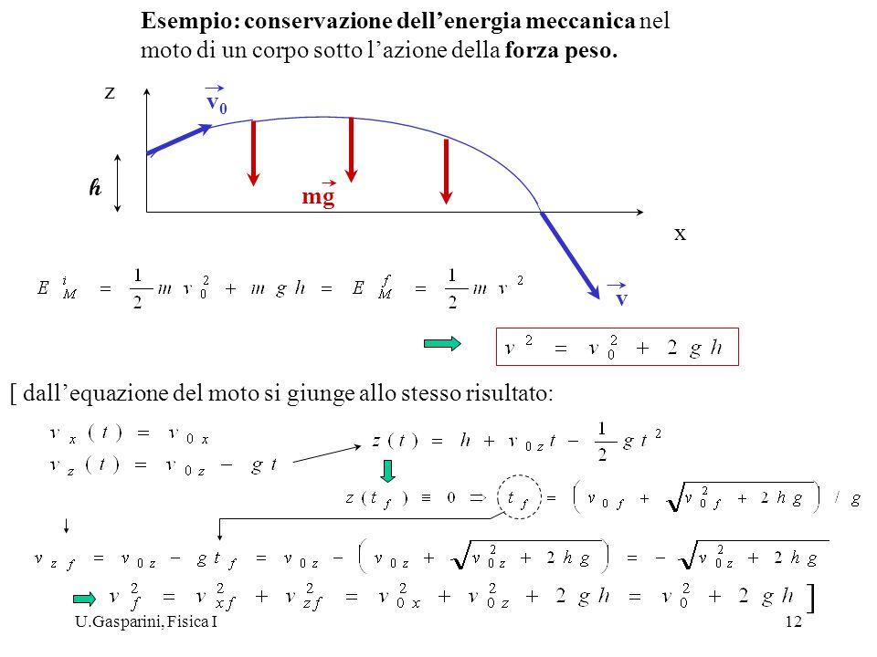 U.Gasparini, Fisica I12 z x v0v0 mg v h [ dallequazione del moto si giunge allo stesso risultato: ] Esempio: conservazione dellenergia meccanica nel m