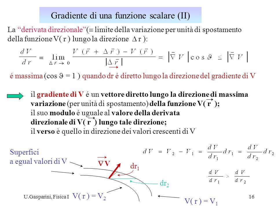 U.Gasparini, Fisica I16 La derivata direzionale( limite della variazione per unità di spostamento della funzione V( r ) lungo la direzione r ): é mass