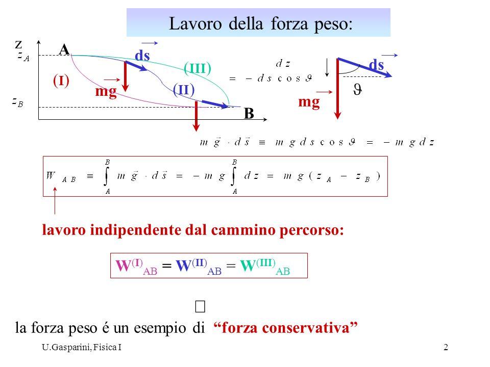 U.Gasparini, Fisica I2 A B z ds mg ds mg lavoro indipendente dal cammino percorso: (I)(I) ( III ) ( II ) W (I) AB = W (II) AB = W (III) AB la forza pe