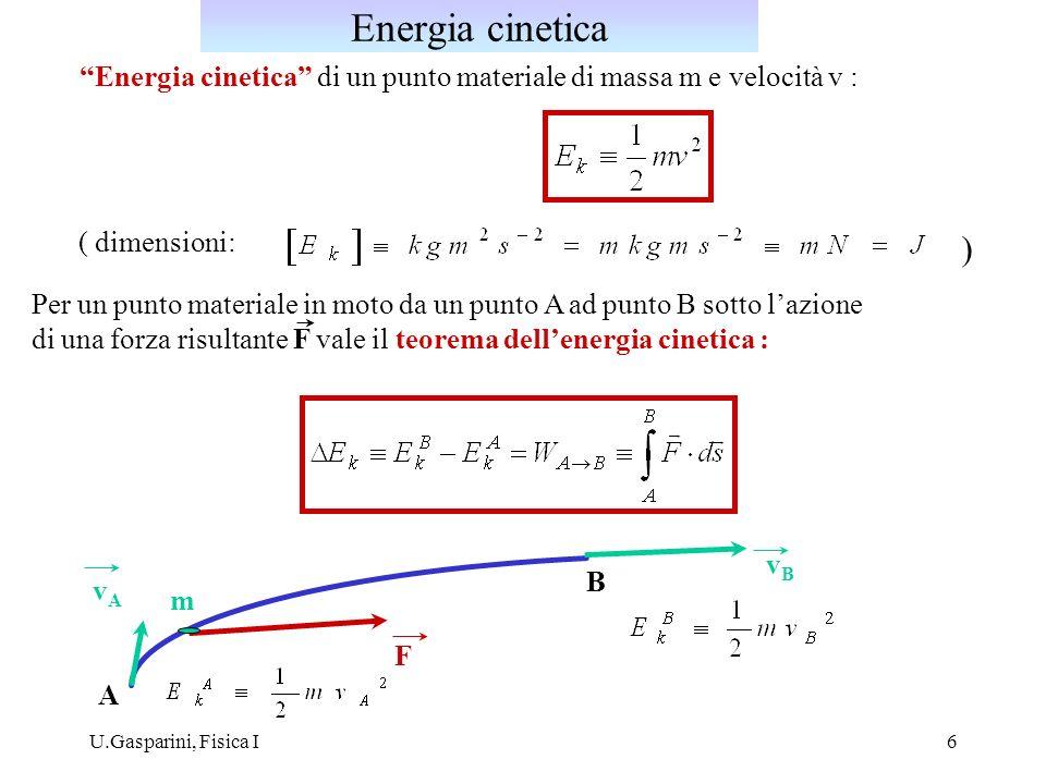U.Gasparini, Fisica I6 Energia cinetica di un punto materiale di massa m e velocità v : Per un punto materiale in moto da un punto A ad punto B sotto