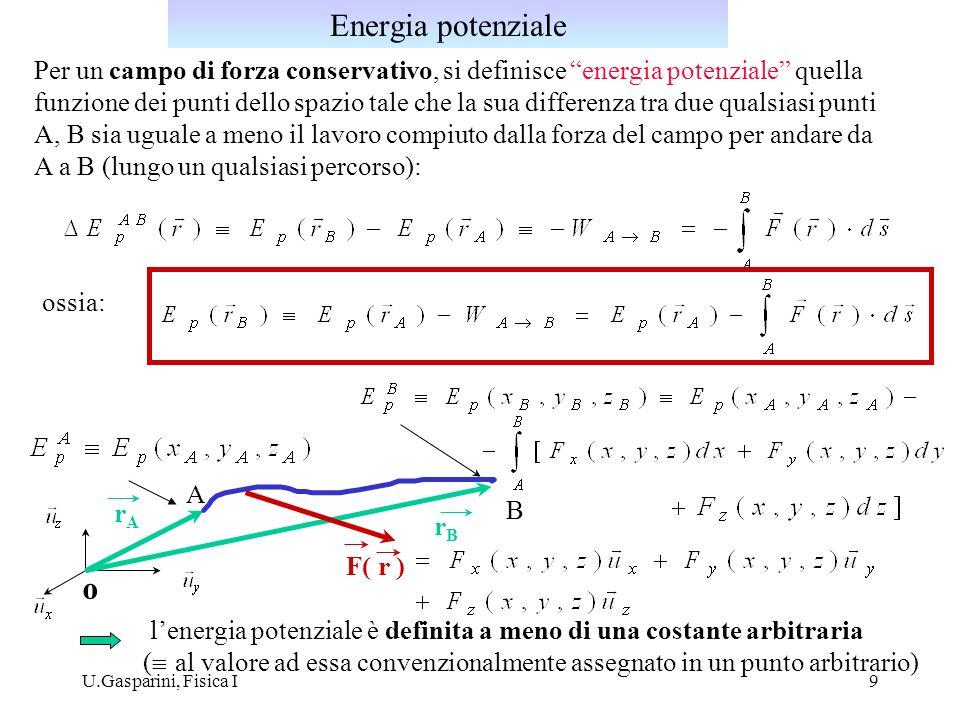 U.Gasparini, Fisica I9 Per un campo di forza conservativo, si definisce energia potenziale quella funzione dei punti dello spazio tale che la sua diff
