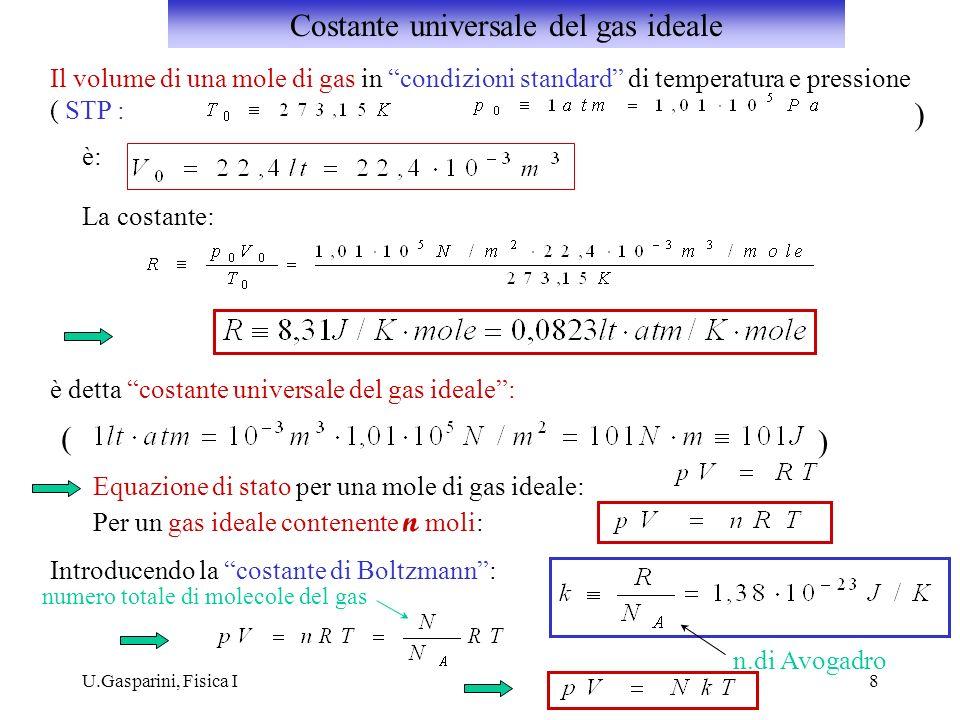 U.Gasparini, Fisica I8 Il volume di una mole di gas in condizioni standard di temperatura e pressione ( STP : ) è: La costante: ( ) Equazione di stato