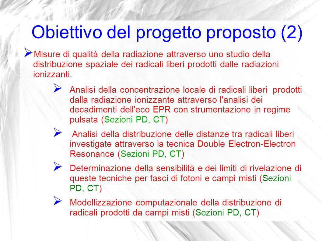 Obiettivo del progetto proposto (2) Misure di qualità della radiazione attraverso uno studio della distribuzione spaziale dei radicali liberi prodotti